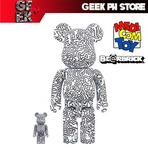 Medicom BE@RBRICK Keith Haring #4 400 and 100% Bearbrick