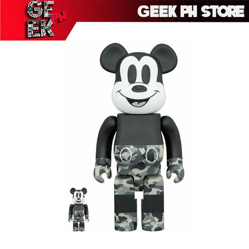 Medicom BE@RBRICK BAPE(R) MICKEY MOUSE MONOTONE Ver. 400 and 100%