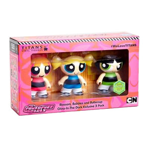 "Titans POWERPUFF GIRLS Glow in the Dark VINYL FIGURE 3-PACK SET 3"" Cartoon Network SDCC 2018"