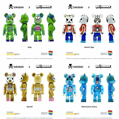 Medicom 2019 Action City x Tokidoki 100% 4pcs Set Be@rbrick Bearbrick