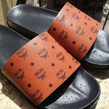 Custom MCM Hand Painted Leather Slides