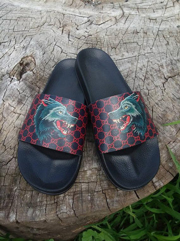 Custom Gucci Lacquard Wolf Hand Painted Leather Slides