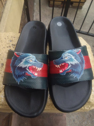 Custom Hand Painted Gucci Red & Green Strip With Leopard Leather Slides