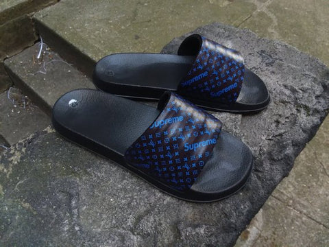 Custom Louis Vuitton x Supreme Royal Blue Slides