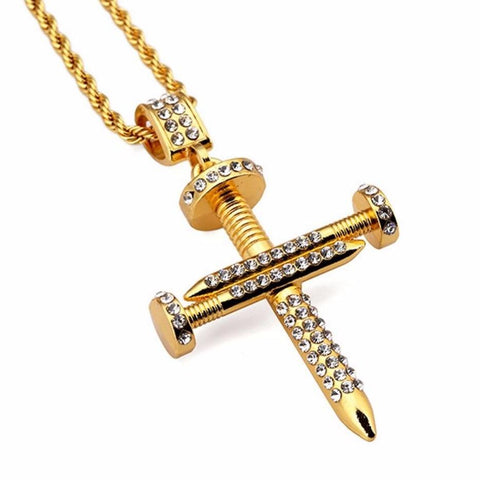 Iced Nail Cross w/ Rope Chain