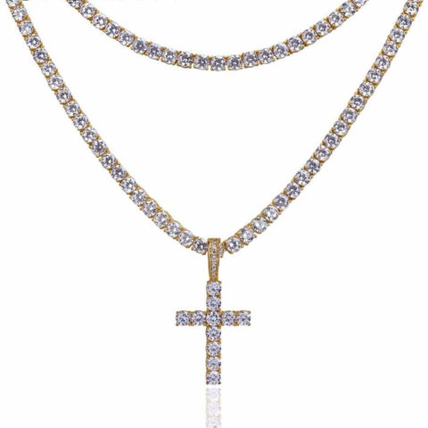Iced Cross w/ Square Cut CZ Tennis Chains