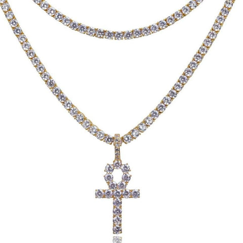 Iced Ankh Cross w/ Square Cut CZ Tennis Chains