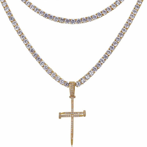 Iced Nail Cross w/ Square Cut CZ Tennis Chains
