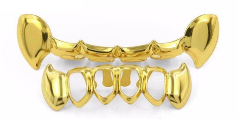 Hollow Half Fang Gold Grills - Primo Jerseys