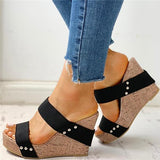 Cosysandals Rivet Detail Platform Wedge Sandals