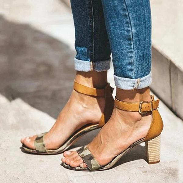 Cosysandals Adjustable Buckle Chunky Heel Sandals