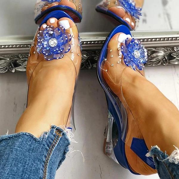 Cosysandals Studded Flower Design Transparent Wedge Sandals