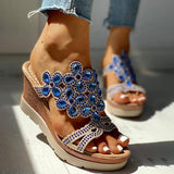 Cosysandals Studded Platform Wedge Casual Slingback Sandals