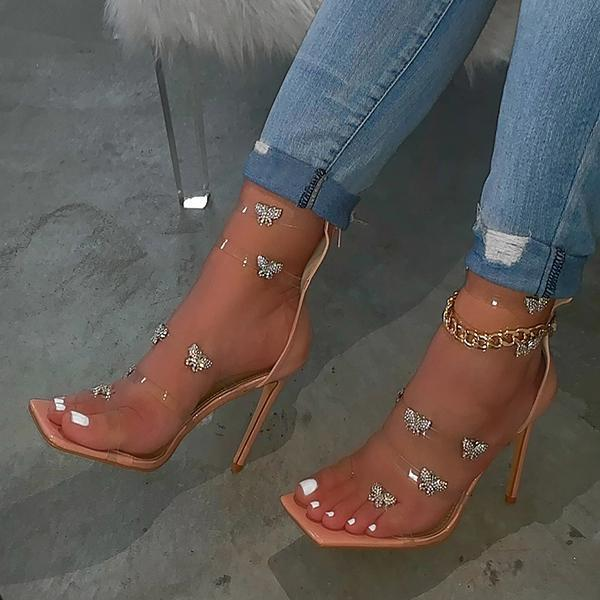 Cosysandals Butterfly Chain Zipper High Heels
