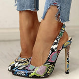 Cosysandals Snakeskin Print Pointed Toe Thin Heeled Sandals