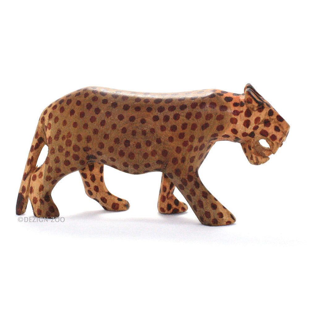 hand carved wood roaring leopard figurine