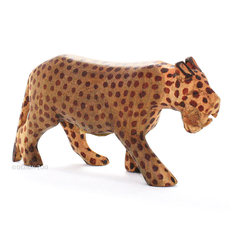 hand carved wood roaring leopard figurine front view