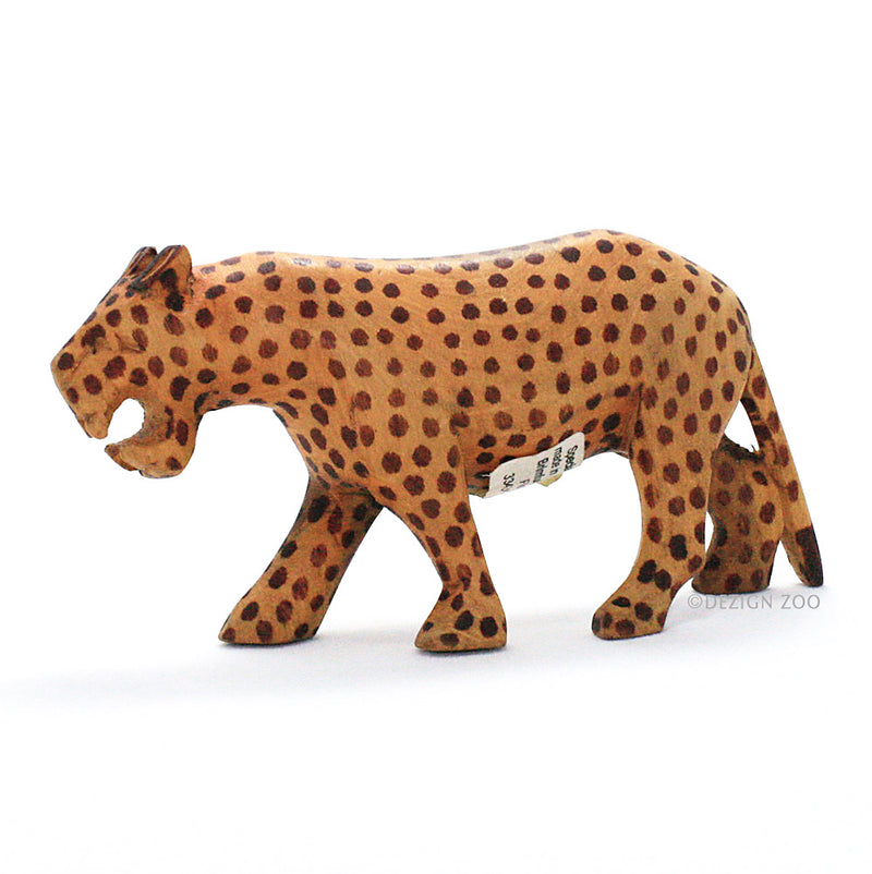 hand carved wood roaring leopard figurine left view