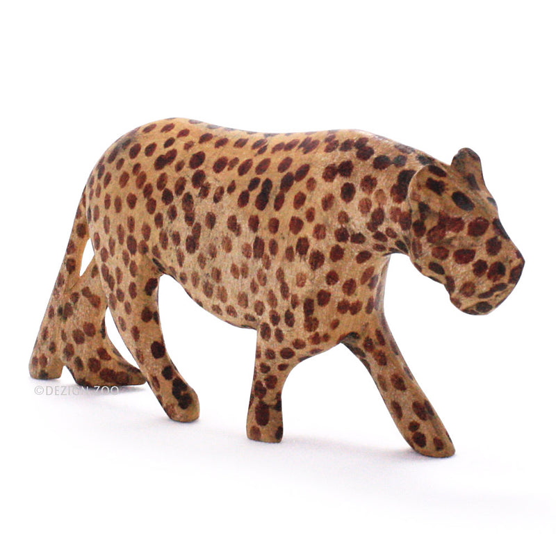 carved wood spotted leopard figurine