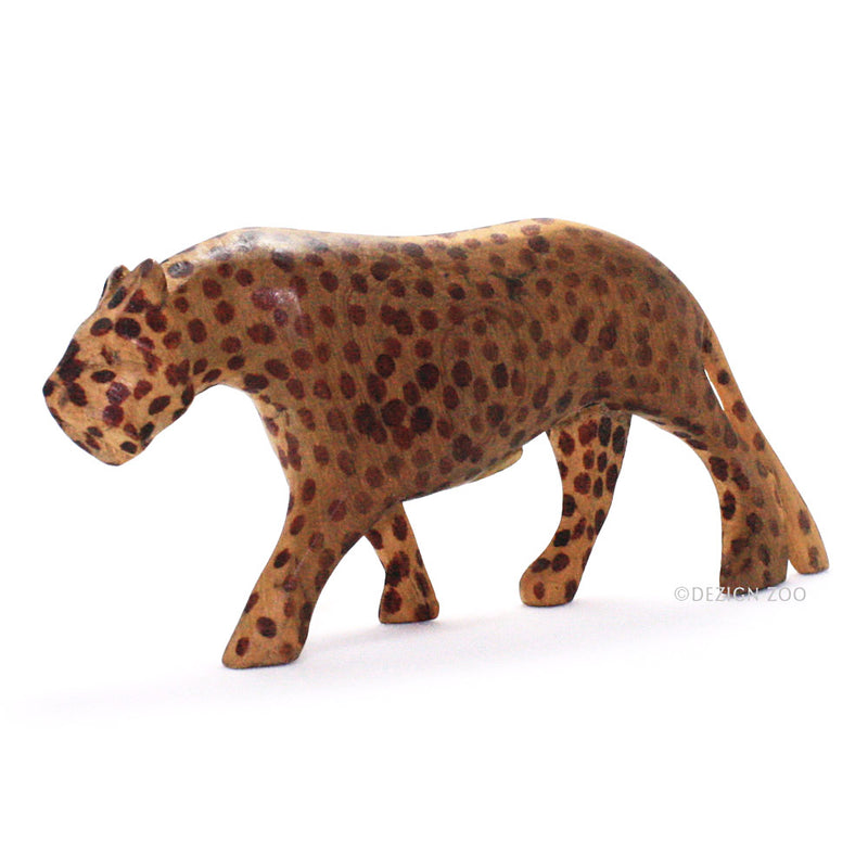 carved wood spotted leopard figurine left view