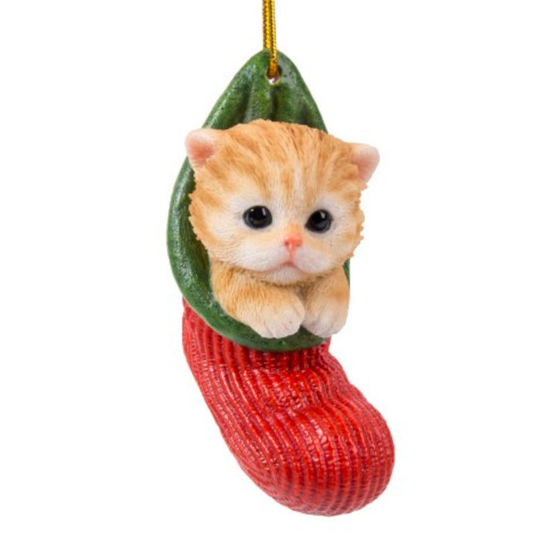 ginger tabby kitten in stocking christmas ornament