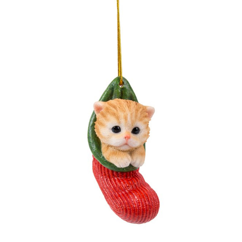 ginger tabby kitten in stocking christmas ornament full view