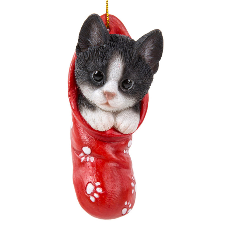 tuxedo kitten in stocking ornament