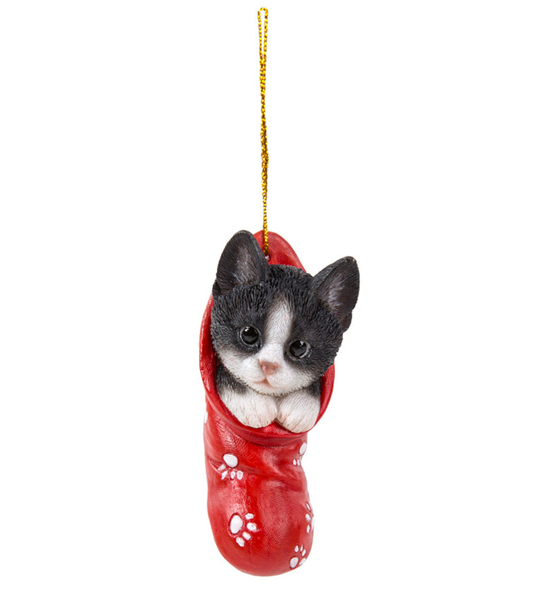 tuxedo kitten in stocking ornament full view