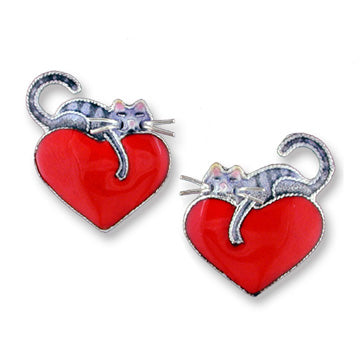 enameled sterling silver cat on heart earrings