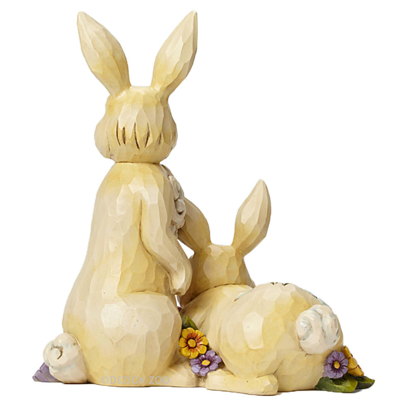 jim shore 9 inch tall double bunnies figurine back detail