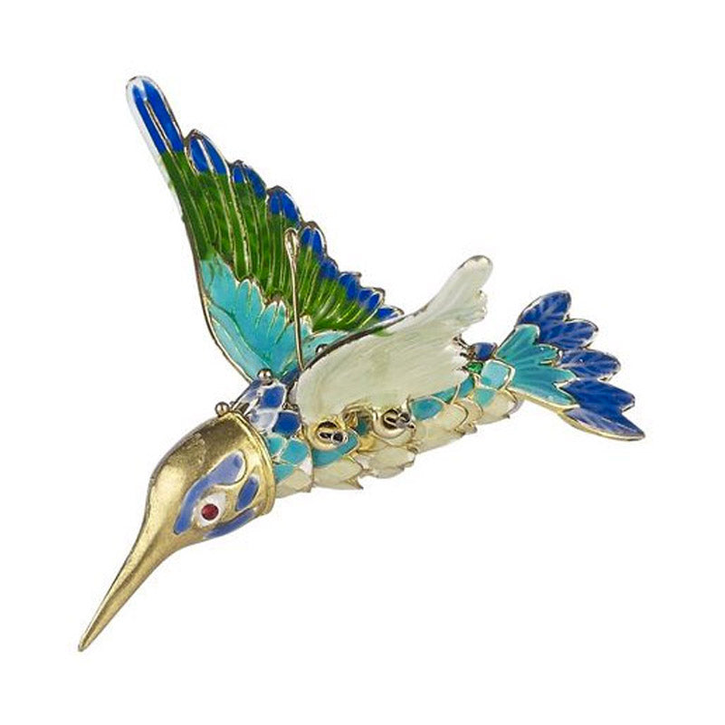 blue and green articulated hummingbird ornament