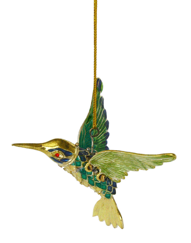 articulated blue and green hummingbird ornament full view