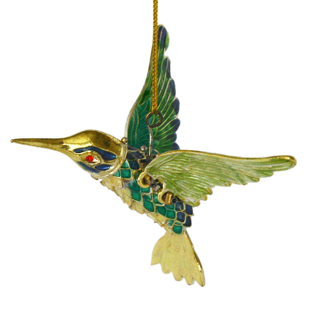 articulated blue and green hummingbird ornament