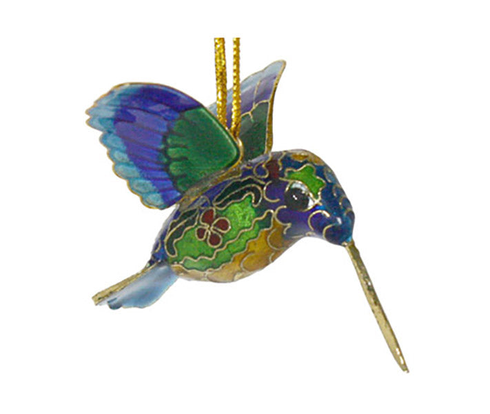 blue green gold cloisonne hummingbird ornament