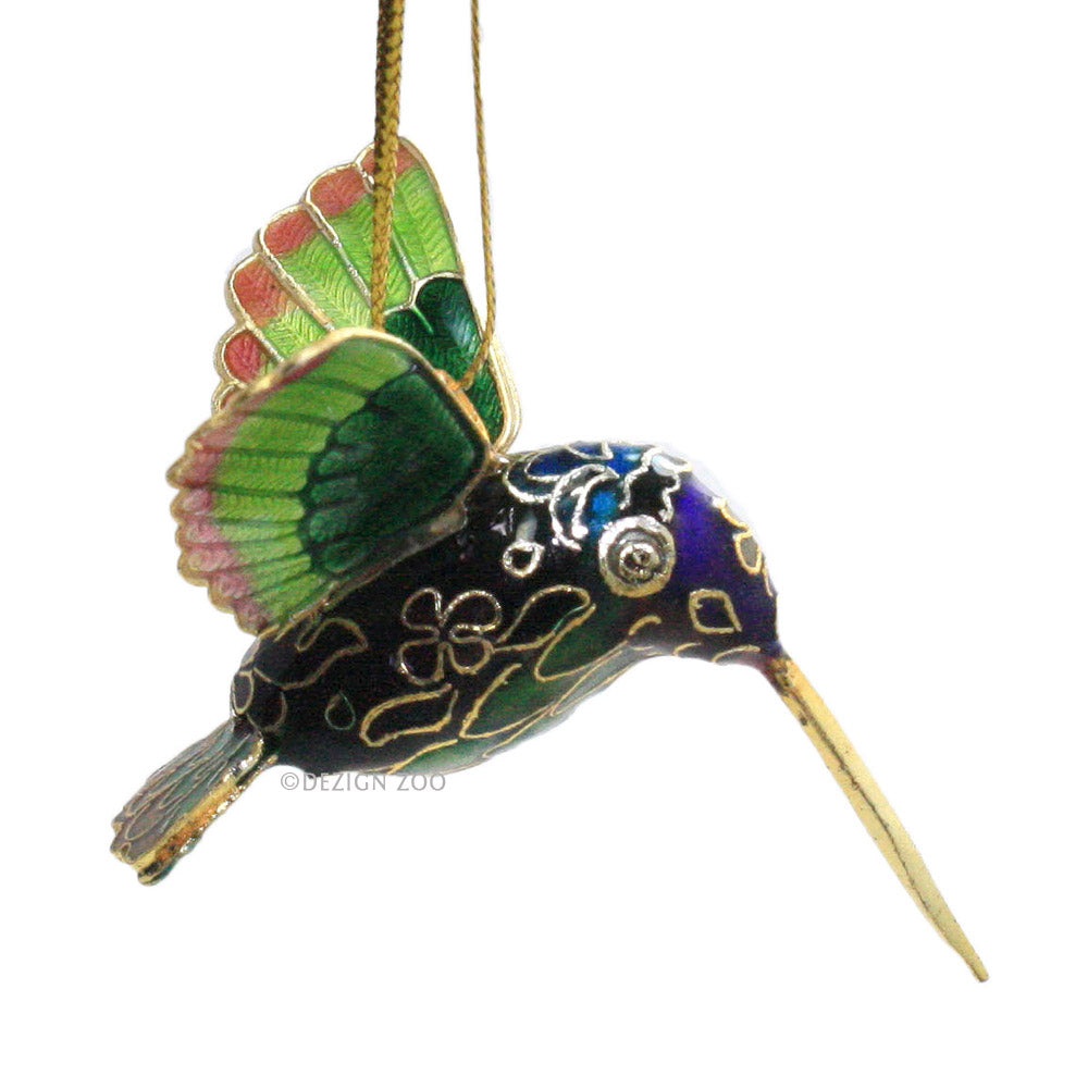 Mini Cloisonne Hummingbird Ornament