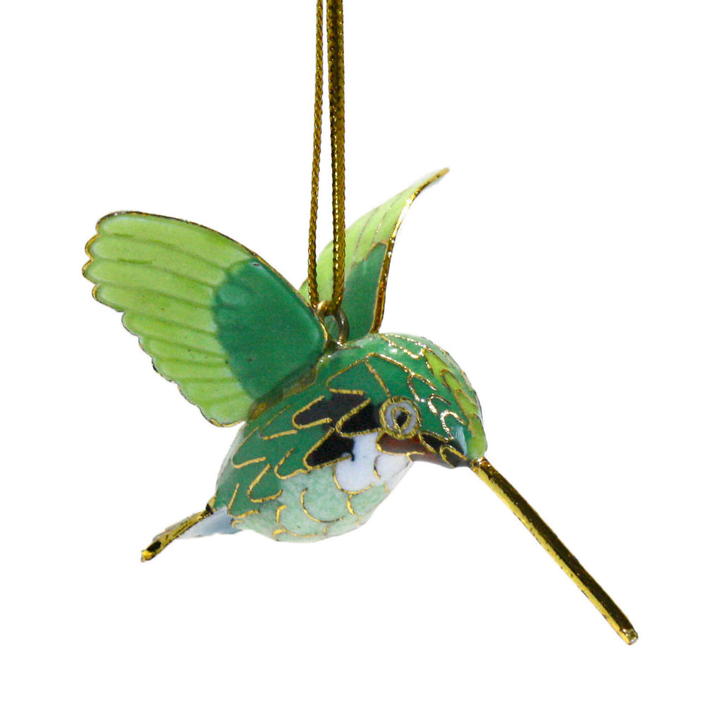 green cloisonne hummingbird ornament