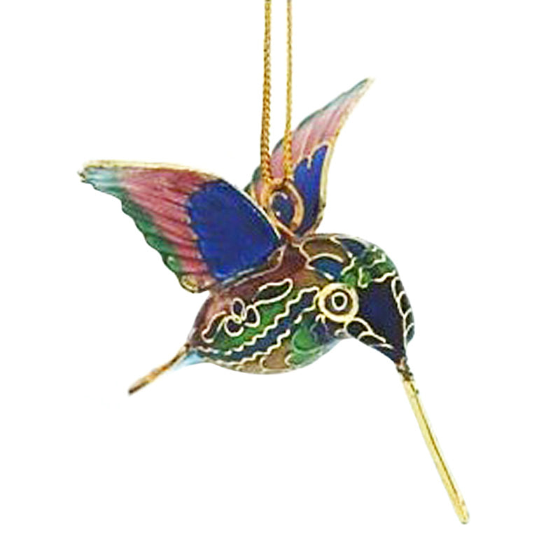 green and purple cloisonne hummingbird ornament