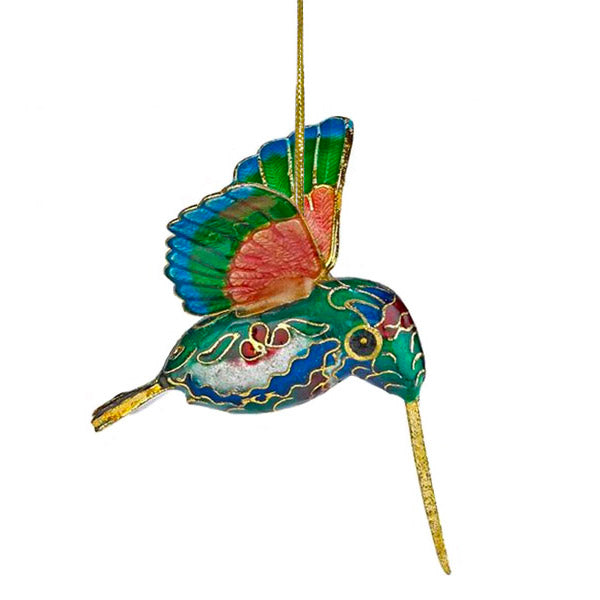 vibrant mini cloisonne hummingbird ornament