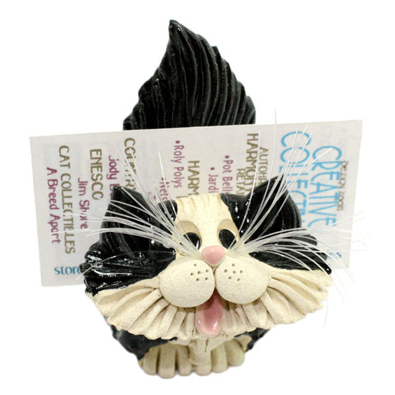 ceramic longhair tuxedo cat business card holder with cards