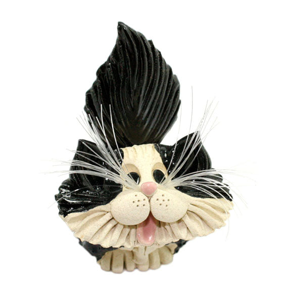 ceramic longhair tuxedo cat business card holder