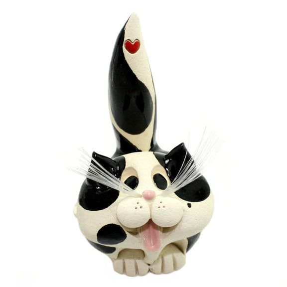 ceramic black and white short hair cat business card holder