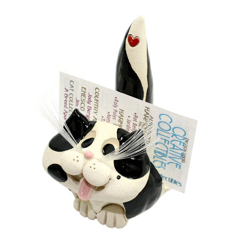 ceramic black and white cat business card holder with cards