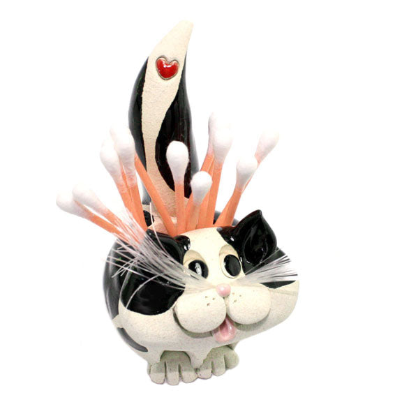 ceramic black and white cat toothpick holder with swabs