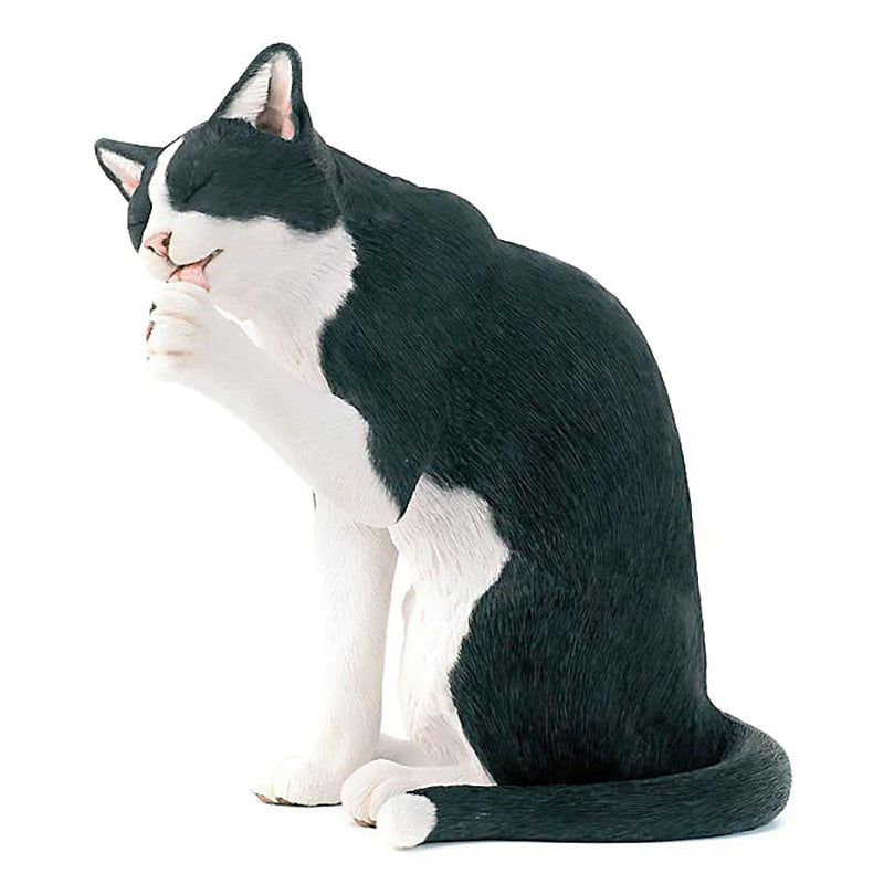 country artists tuxedo cat grooming figurine