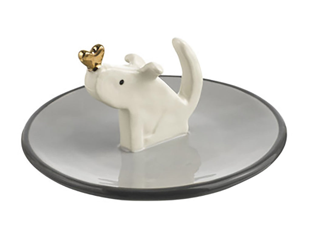 ceramic dog with heart ring holder