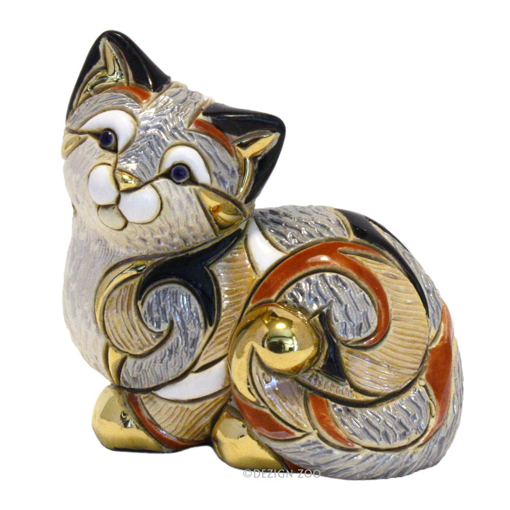 ceramic de rosa rinconada calico cat resting sculpture