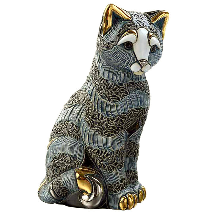 "de rosa 5 1/8"" tall striped cat figurine"