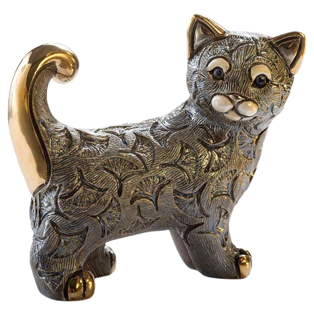 de rosa F213 gray abanico cat figurine