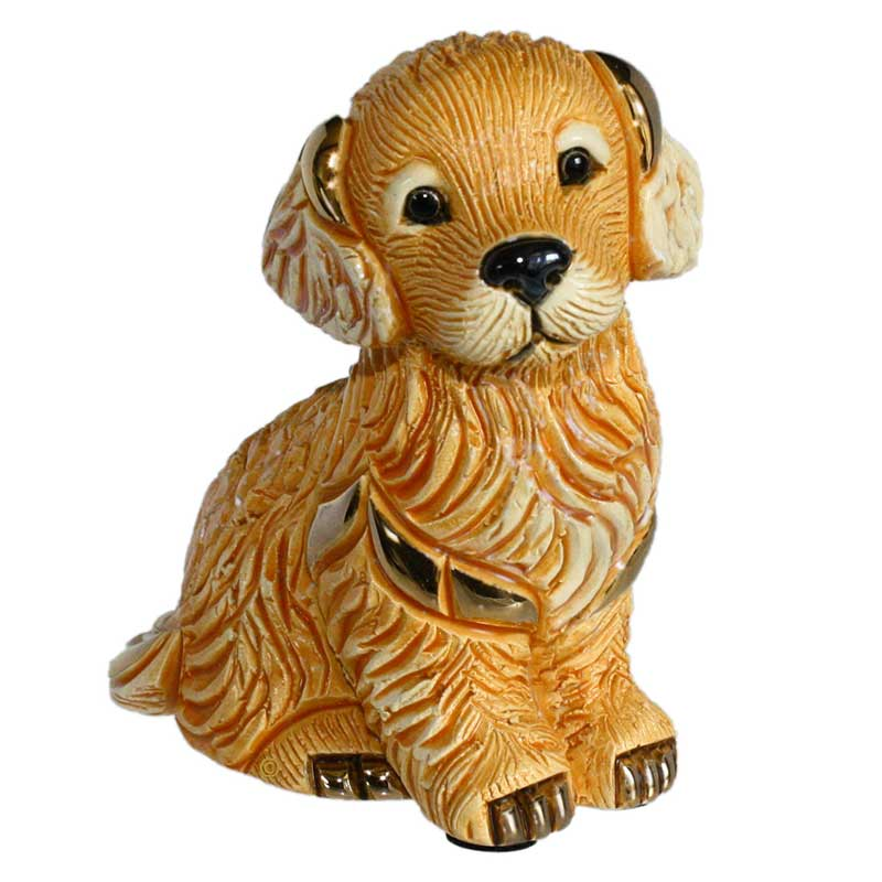de rosa ceramic golden retriver puppy dog figurine