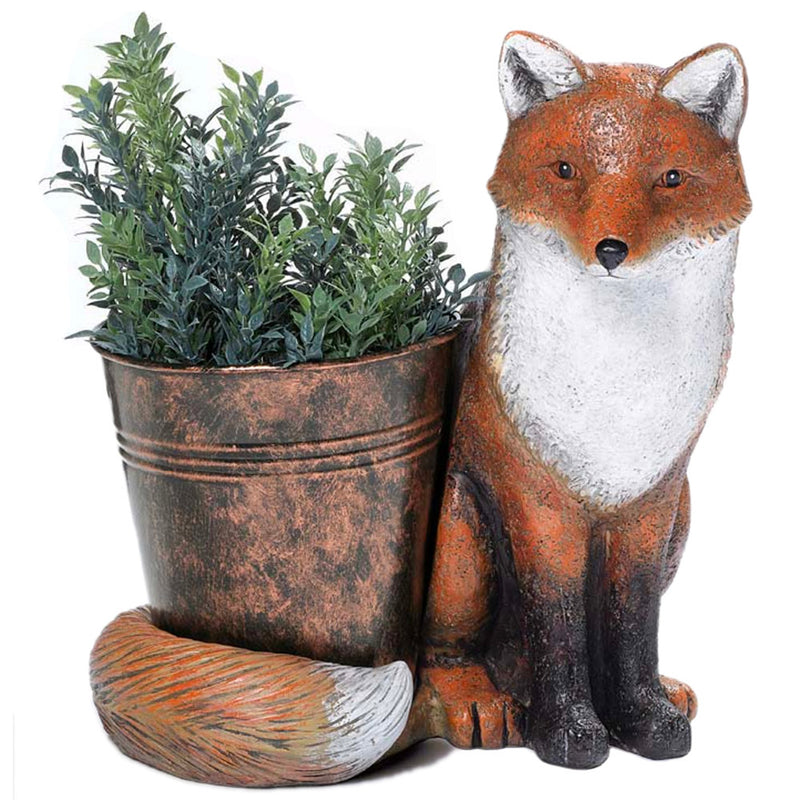 cement fox figurine with planter
